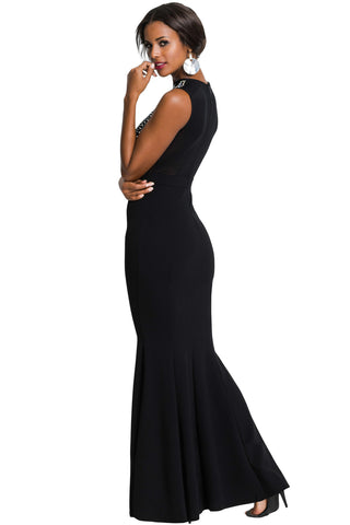 Black Embellished Bodice Party Gown
