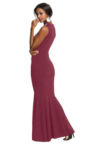 Burgundy Embellished Bodice Party Gown