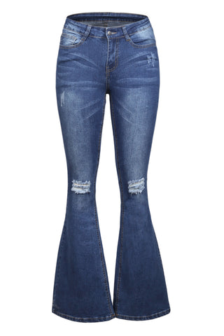 Blue Ripped Knee Flared Jeans