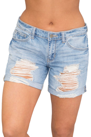 Light Blue Rolled Cuffs Distressed Denim Shorts