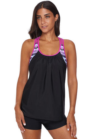 Pink Strappy T-Back Print Beach Top