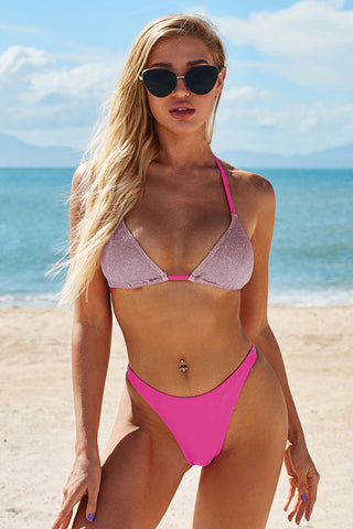 Pink Halter Neck Sequin Bikini Set