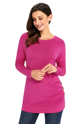 Pink Side Buttoned Long Sleeves Top
