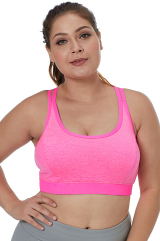 Pink Double Straps Sports Bra
