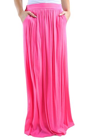 Pink Waist Pleated Long Skirt