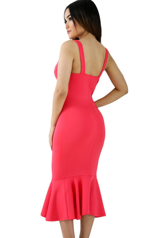 Deep Pink Mermaid Sleeveless Dress