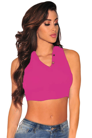 Pink Ladies Mock Neck Sexy Crop Top - Boldgal.com