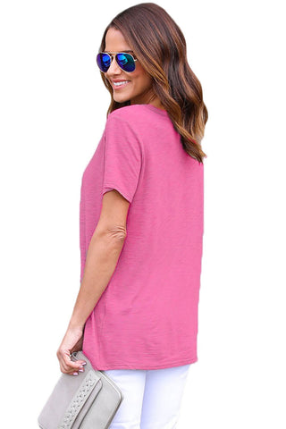 Pink Lace up Cotton Top