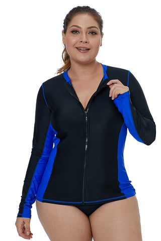 Royal Blue Rashguard Front Zip Beach Top