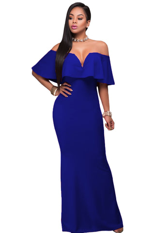 Blue Ruffle Off Shoulder Gown