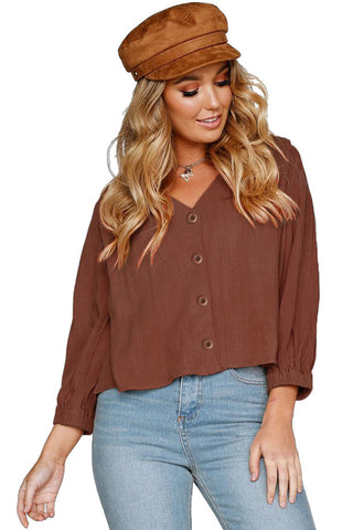 Rusty Button Down 3/4 Sleeves Shirt Top