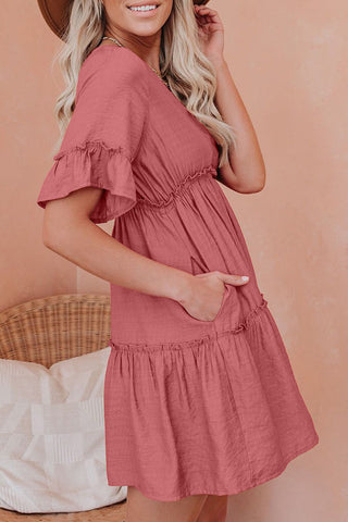 Red Ruffle Sleeves Pocketed Tiered Dress