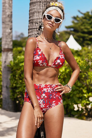 Red Sling Floral Print High waist Bikini Set
