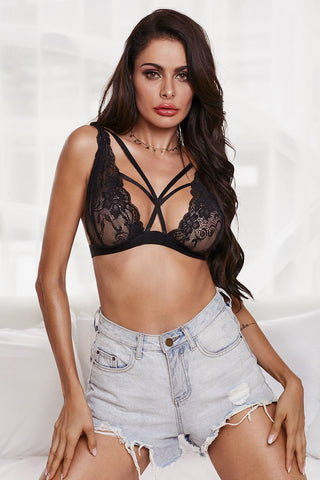 Black Front Lace Seductive Bralette Top