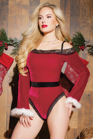 Red Off Shoulder Santa Teddy Costume