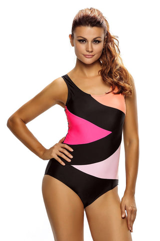 Black Color Block One Piece Swim Suit
