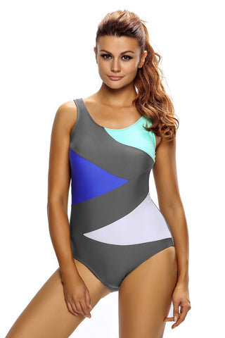 Grey Color Block One Piece Swim Suit