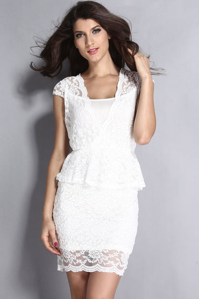 4711007b046 Buy White Flawless Lace Deep Cocktail Dress - Boldgal.com