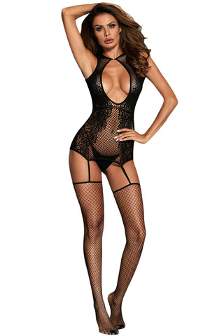 Black Deep Neck Floral Netted Body Stockings
