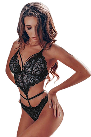 Black Cut Out Sleeveless Bodysuit Lingerie
