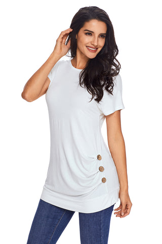 White Side Button Short Sleeves Top