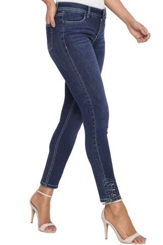 Dark Blue Skinny Button Detail Jeans