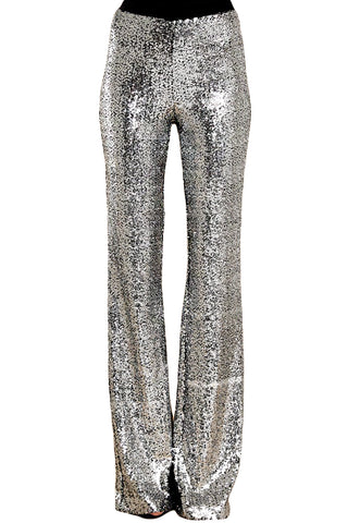 Silver Sequin Eye Catching Wide Leg Pants