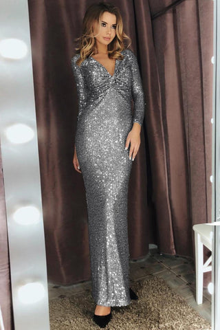 Silver Long Sleeves Ruched Sequin Dress