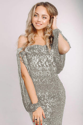 Silver Off Shoulder Sequin Tasseled Sleeve Gown