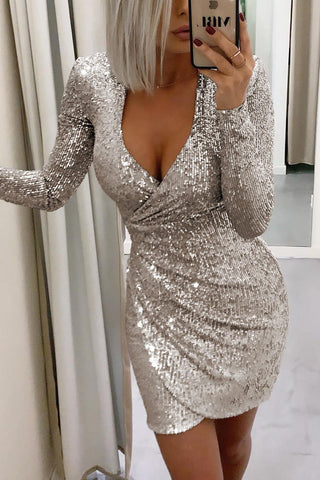 Silver Ruched Wrap Surplice Sequin Dress