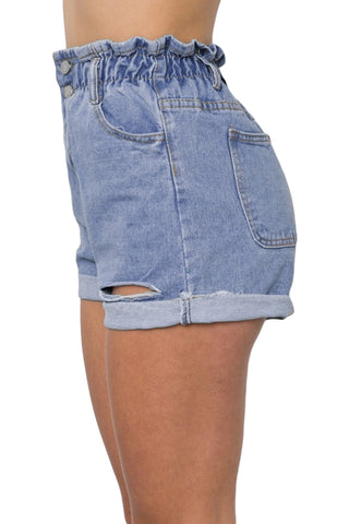 Sky Blue High Waist Denim Shorts