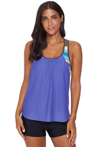 Blue Strappy T-Back Print Beach Top