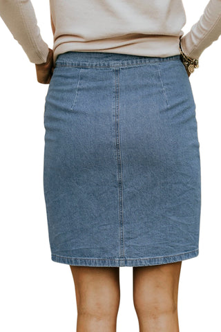 Sky Blue Button Up High Waist Denim Skirt