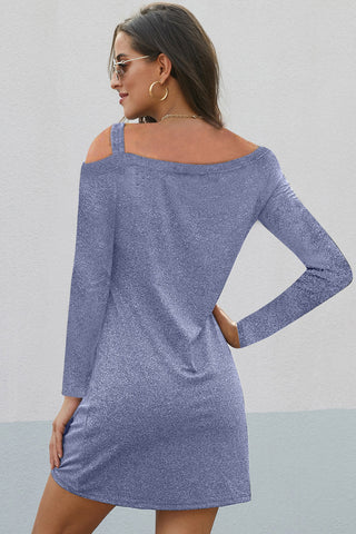 Sky Blue Cold Shoulders Knit Twist Short Dress
