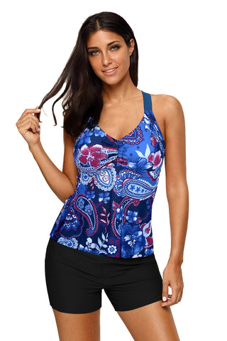 Sky Blue Floral Print Sleeveless Beach Top