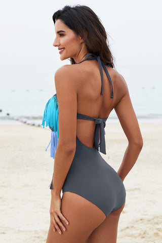 Sky Blue Fringed Grey Multi-Layer One Piece Swimsuit