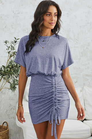 Sky Blue Ruched Short Sleeves Short Dress