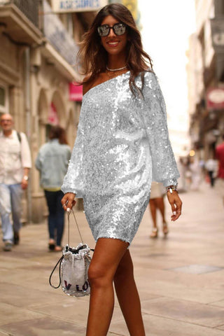 White Slanted Shoulder Sequin Short Dress