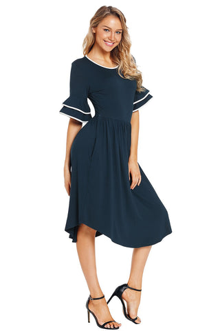 Blue Bell Sleeve Layered Dress
