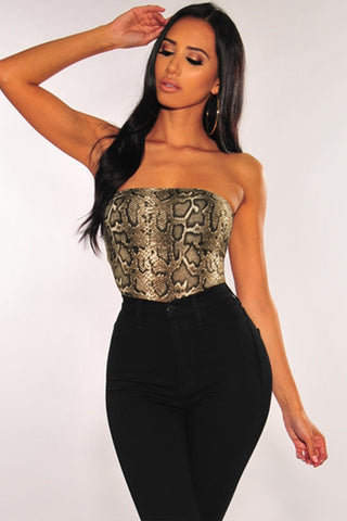Brown Strapless Snake Print Bodysuit