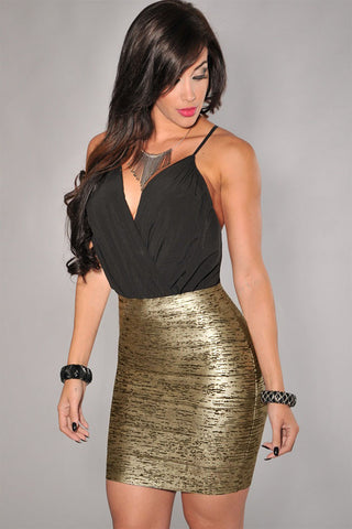 Ladies Soft Gold Bandage Short Skirt - Boldgal.com