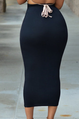 Black Ladies Stretchy Bodycon Midi Skirt - Boldgal.com