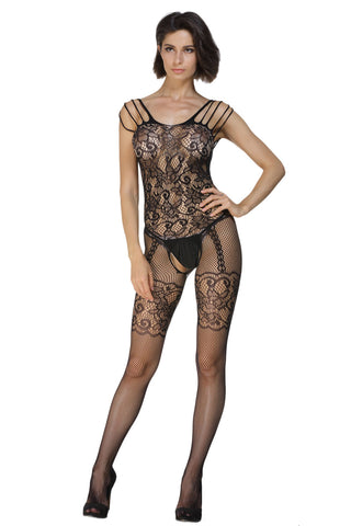 Floral Weaving Fish Net Body Stockings - Boldgal.com