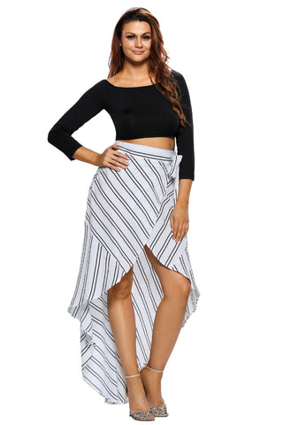 White Wrap High low Striped Midi Skirt