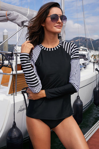Black Raglan Sleeve Stripes Rashguard Top