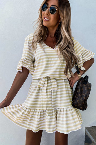 Light Yellow Short Sleeves Stripes Ruffle Dress