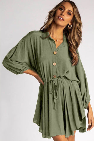 Light Green Collared Turn Down Sleeves Shirt Dress