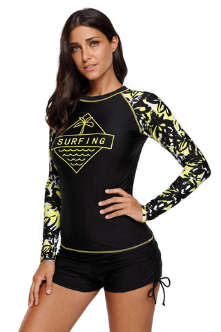 Black Surfing Print Long Sleeves Beach Top