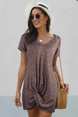 Brown Short Sleeves Side Knot Short Dress
