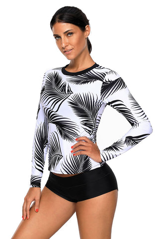 White Leaf Print Long Sleeves Beach Top